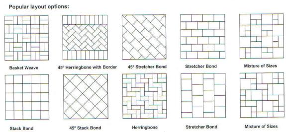 Paving Pattern Styles Herringbone Stretcher Bond