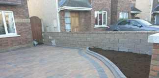 Corrib Driveway with New Brick Pillars in Clonsilla, Dublin